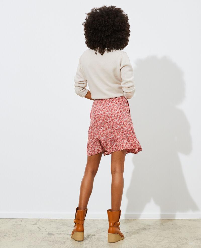Silk wrap mini skirt Art deco pink Palongue