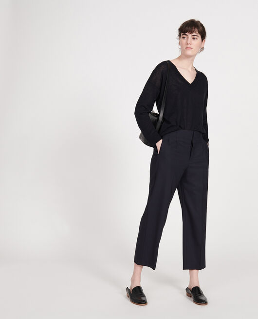 Wool trousers DARK NAVY