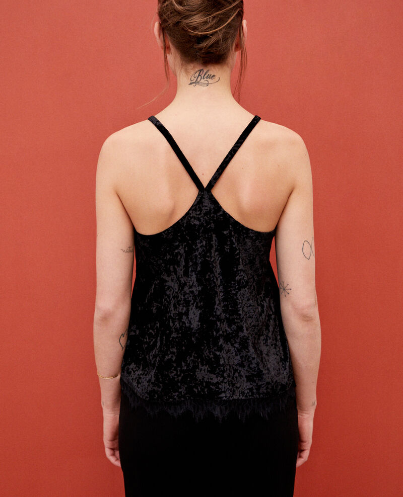 Velvet vest with lace Black Gloriane