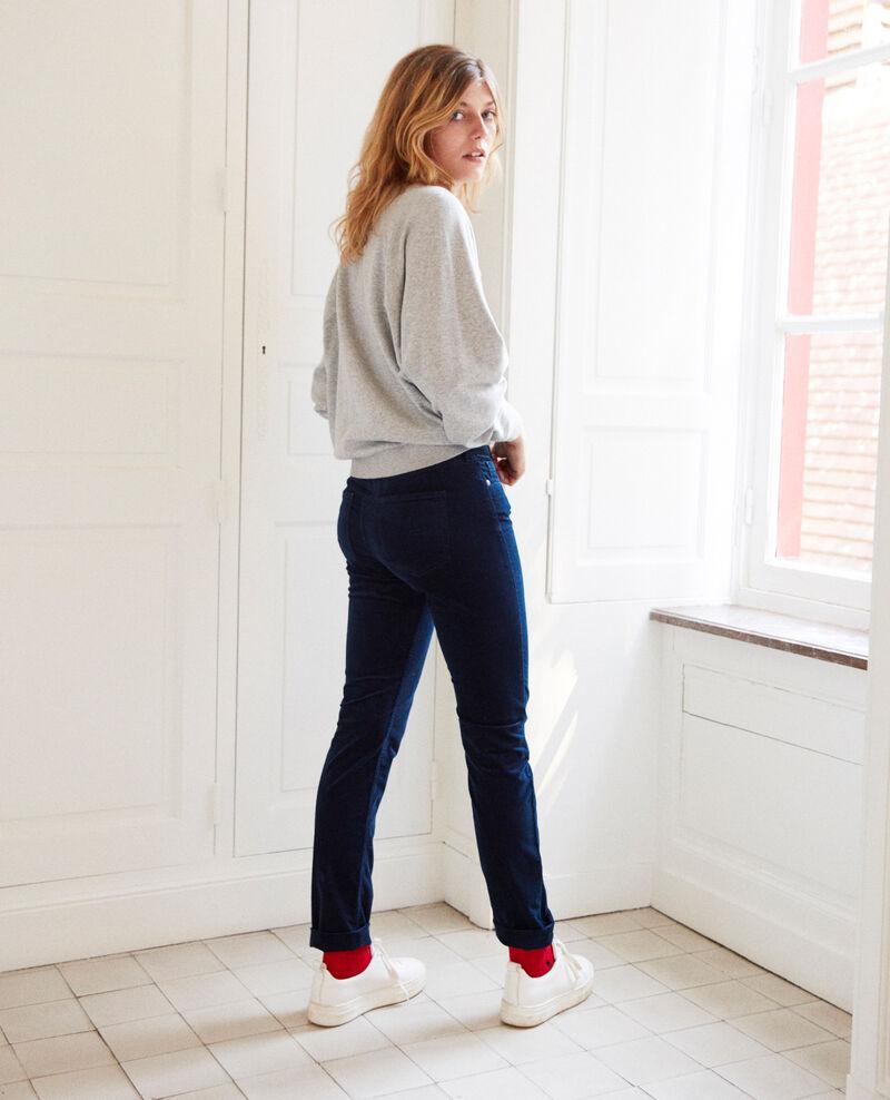 Smooth velvet trousers Medieval blue Juillemin