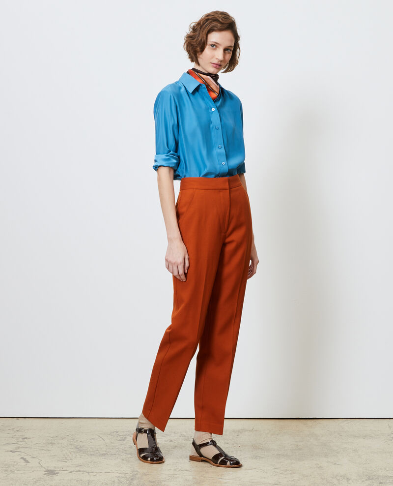 MARCELLE trousers, straight wool boyfriend trousers Umber Nisabelle