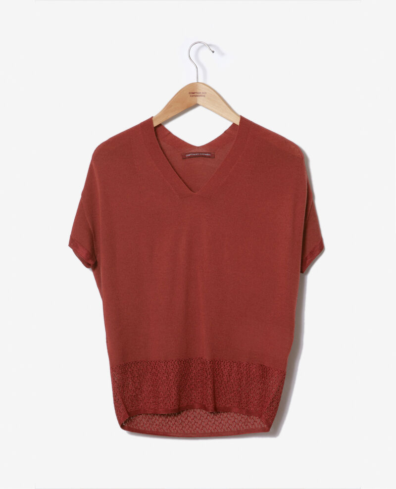 Zero-stitching short-sleeved knit Cowhide Gemilio