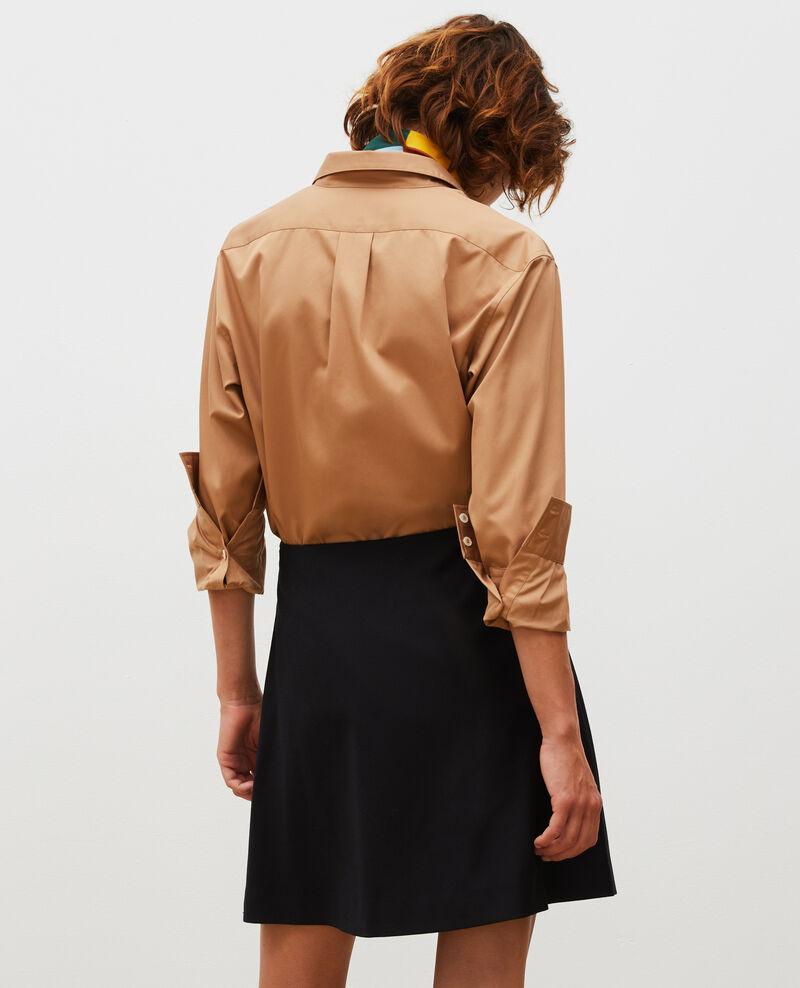 Wool flannel A-line mini skirt Black beauty Marcoles