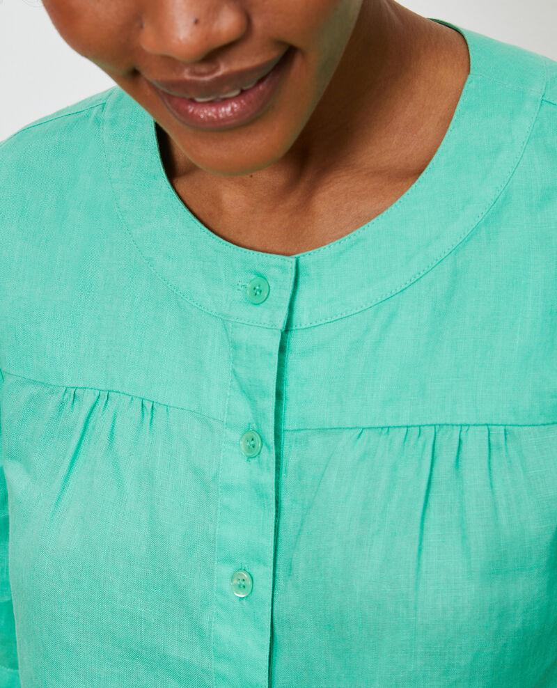 Linen polo blouse Jade cream Lantoine