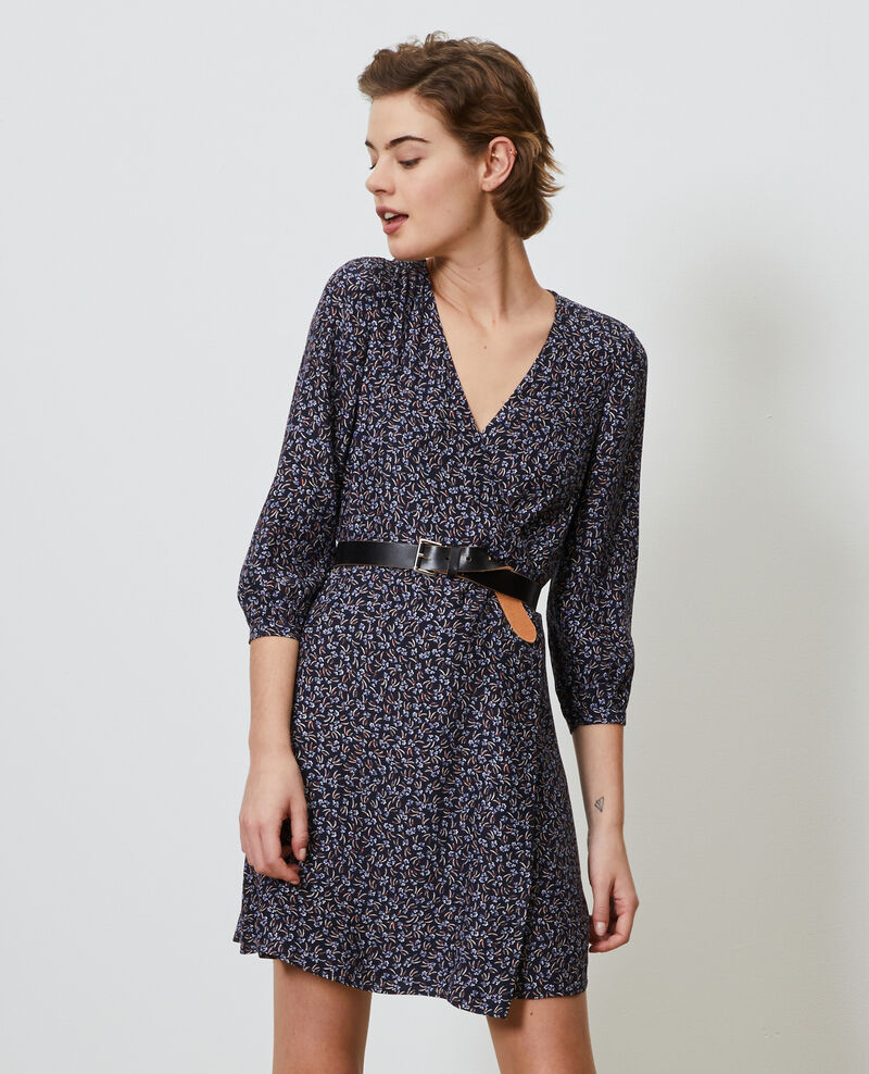 Floral silk wrap dress Clochette navy Nireclos