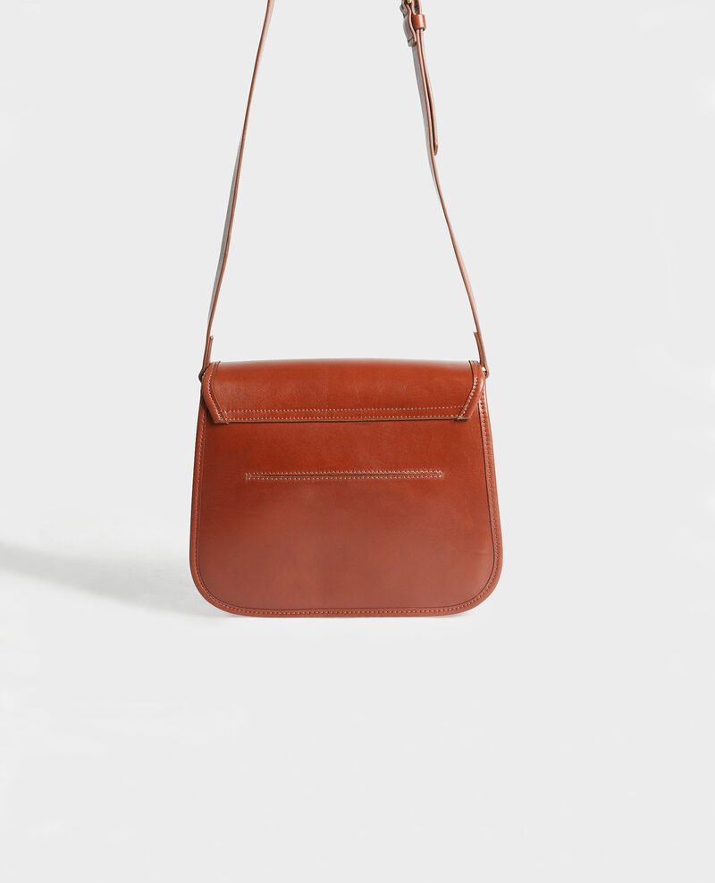 Leather messenger bag Camel Mauriac