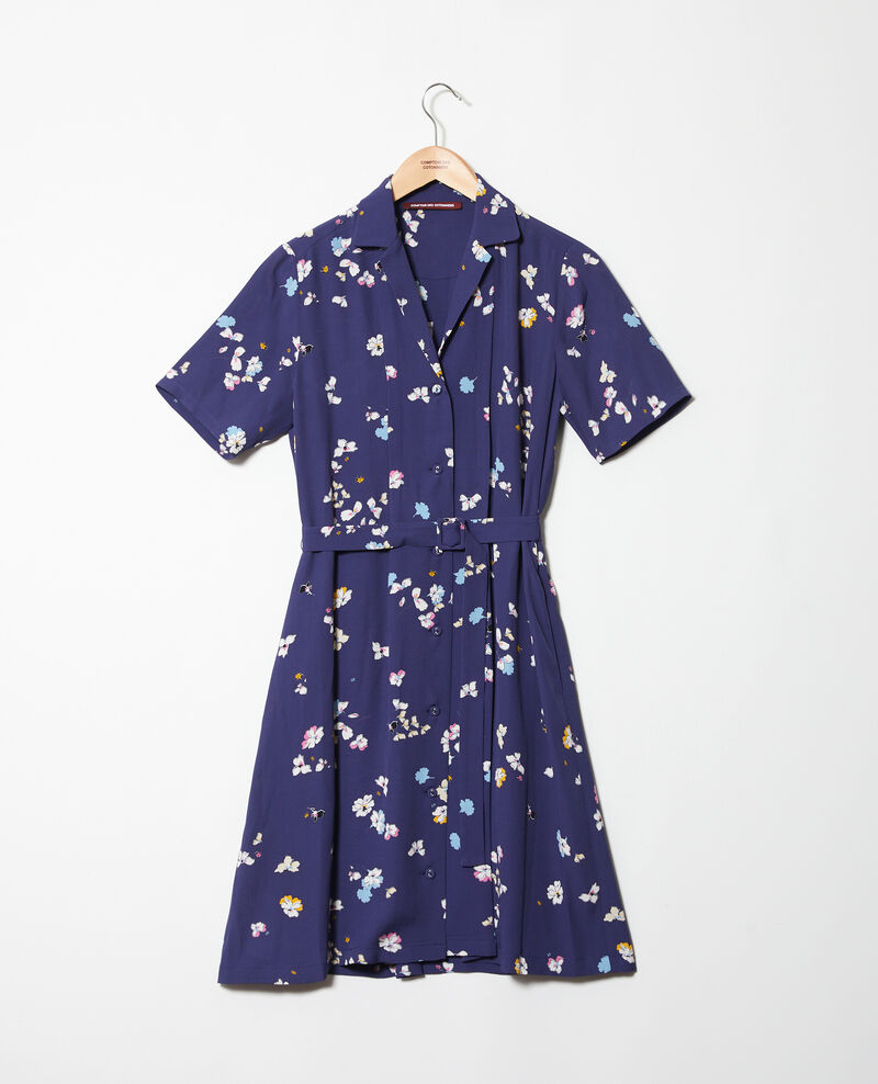 Printed dress Dry flower navy 9illara