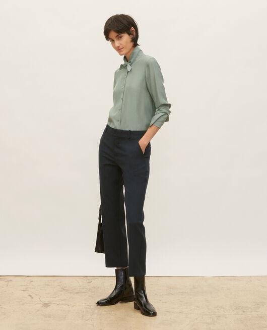 Smooth wool boyfriend trousers DARK NAVY