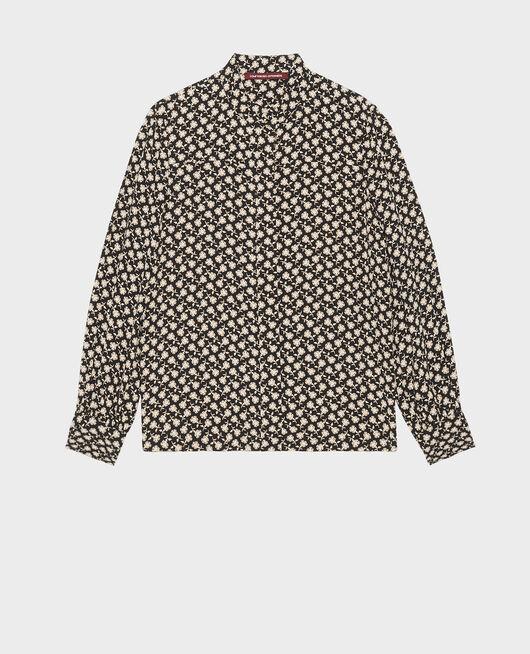 Long-sleeve floral print blouse PRINT FLEURETTES BLACK LATTE