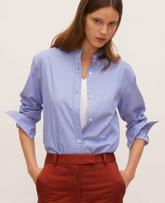 Collarless cotton shirt POPELINE STRIPE2