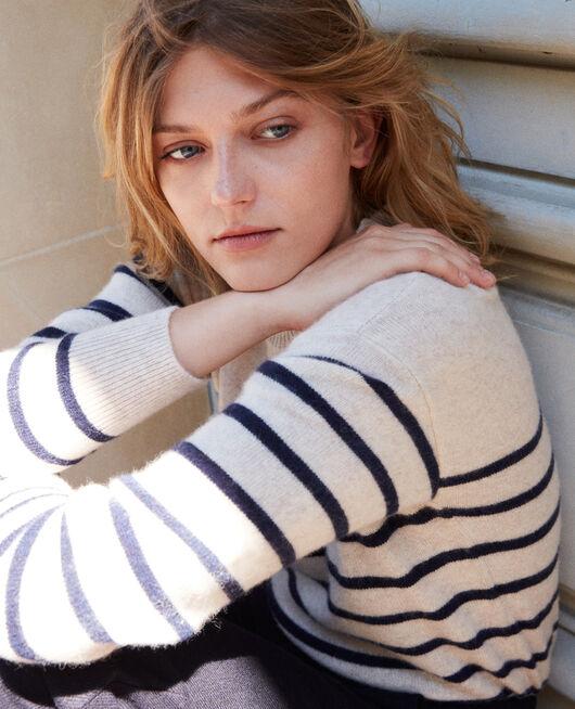 100% Striped cashmere jumper BUTTER/EVENING