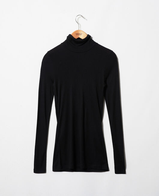 Rollneck cashmere-blend t-shirt NOIR
