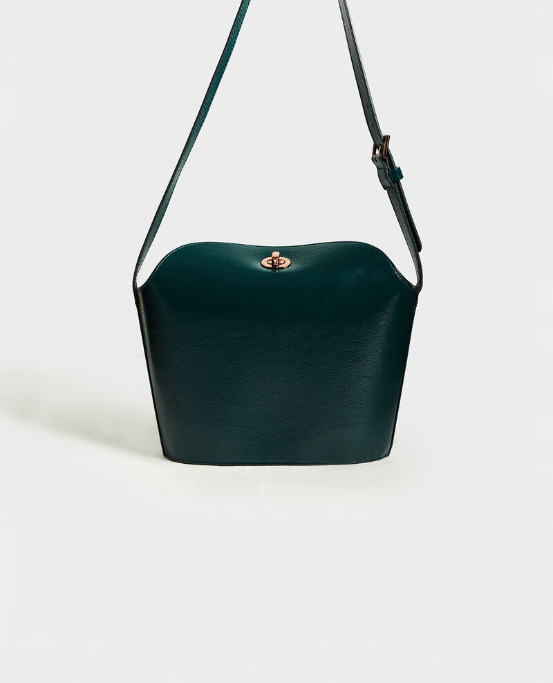 Leather handbag with short shoulder strap Rain forest Midylle