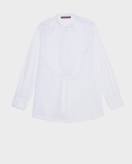 Oversize cotton shirt with bib front BRILLIANT WHITE