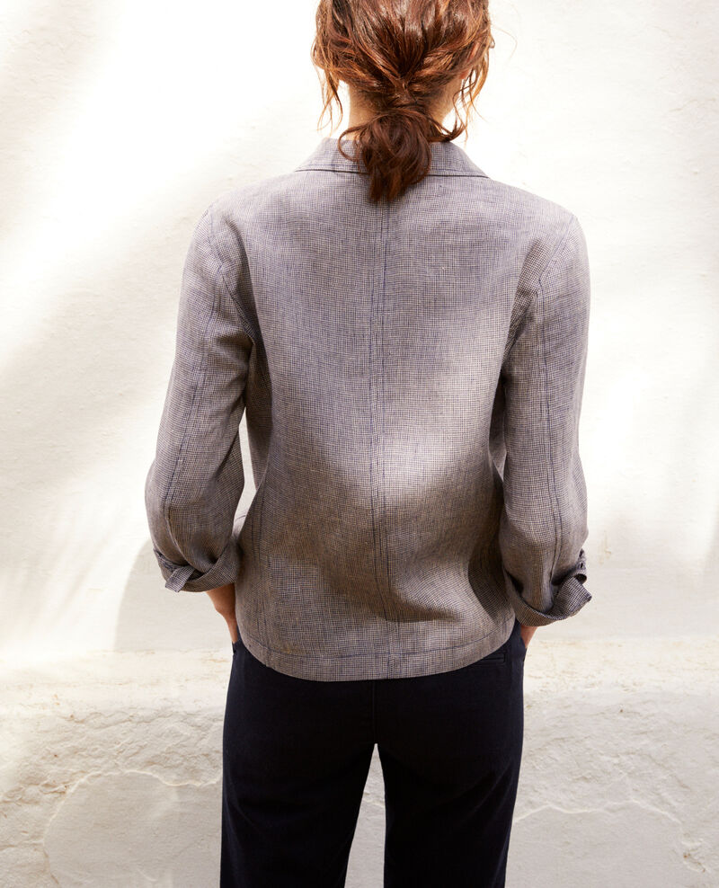 Linen blazer Natural linen/ink navy Ikarus