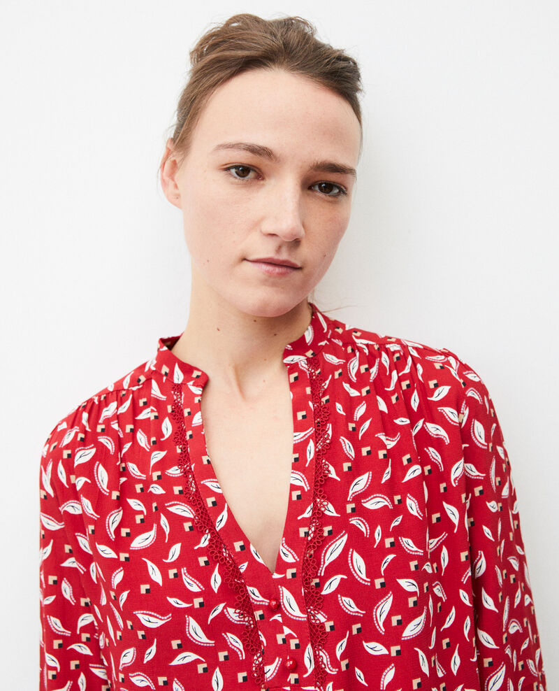 Henley blouse Earth red Gaela