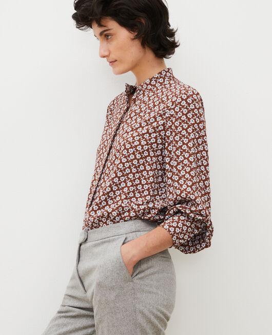 Long-sleeve floral print blouse PRINT FLEURETTES TORTOISE SHELL