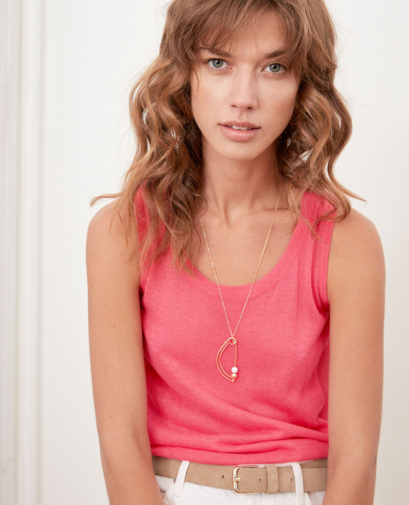 Knit tank top with openwork details Ultra pink Flanelle