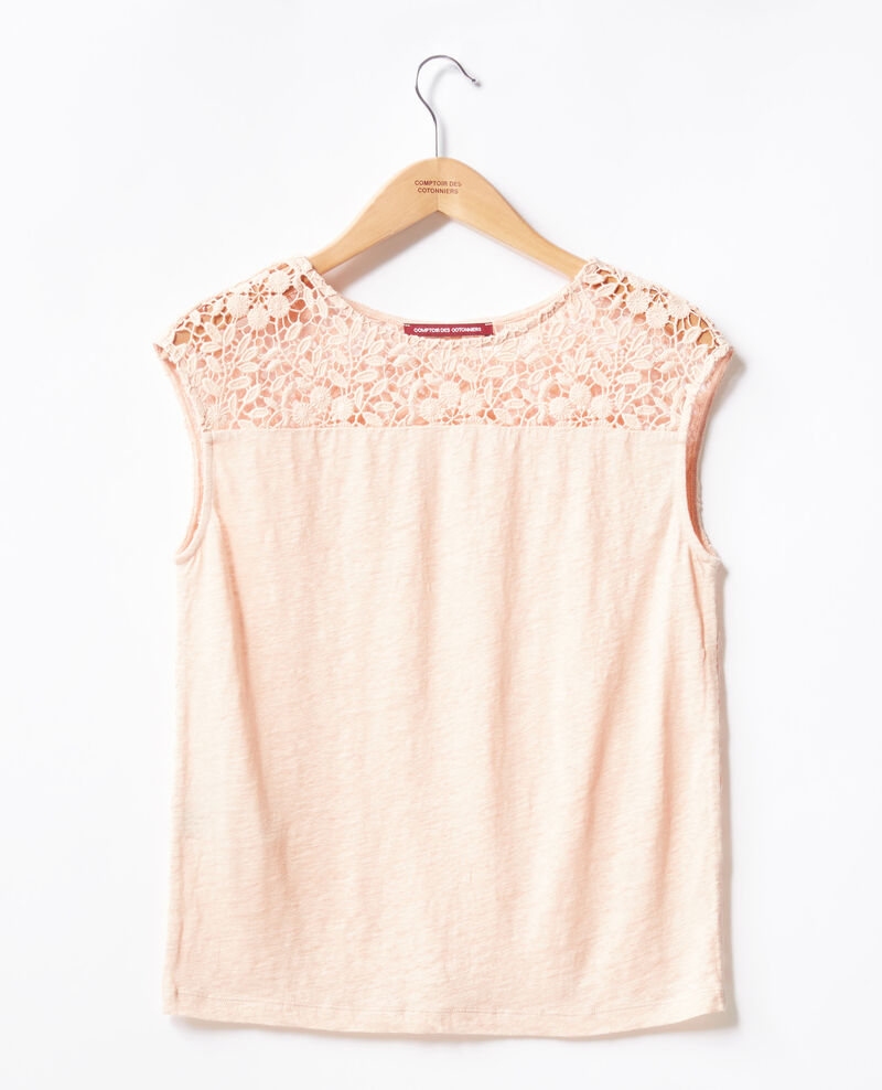 Linen t-shirt with lace back Nude Furbigo