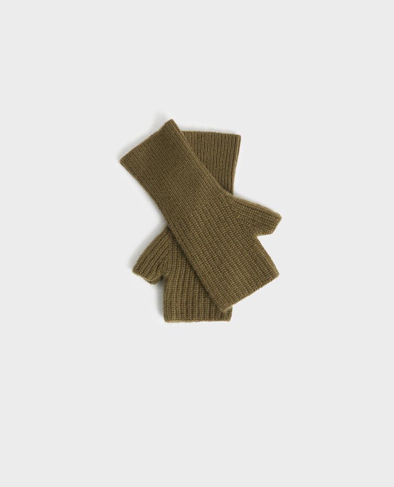 Cashmere mittens Dark olive Poitou