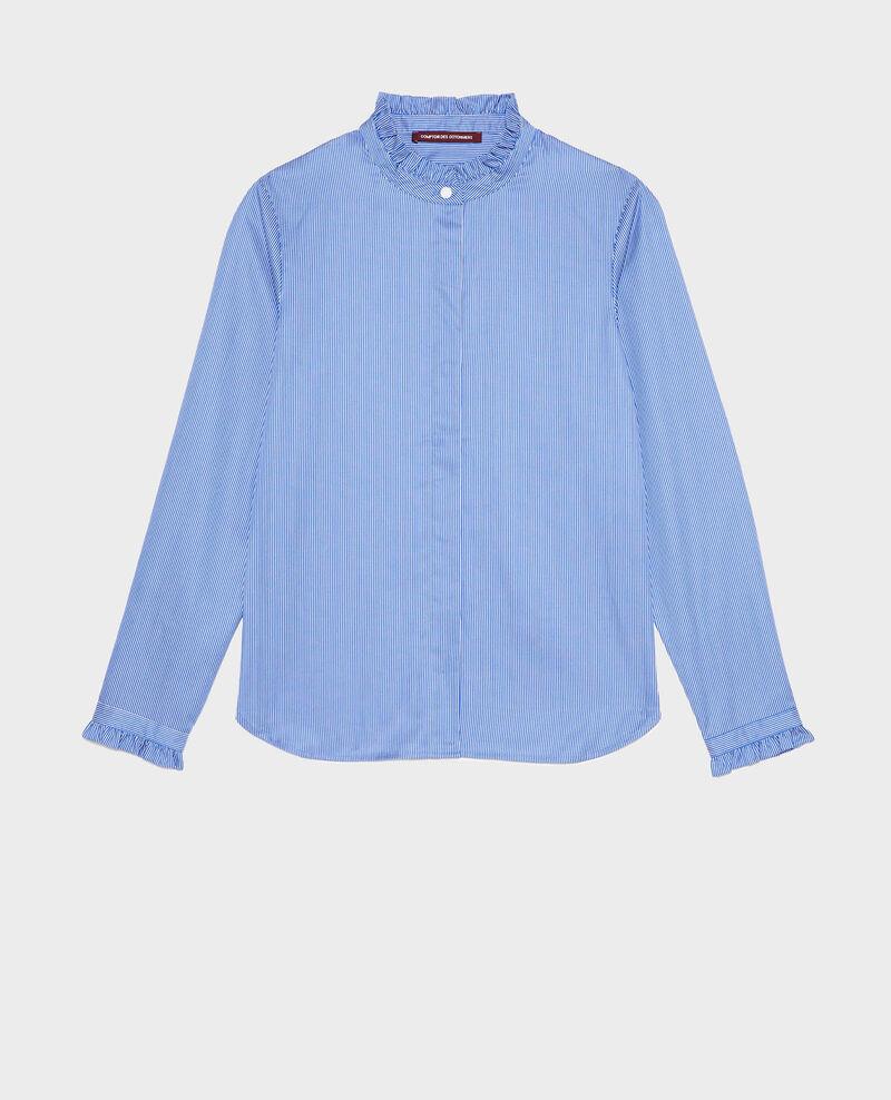 Ruffled high collar cotton shirt Blue as proto Mercenarai