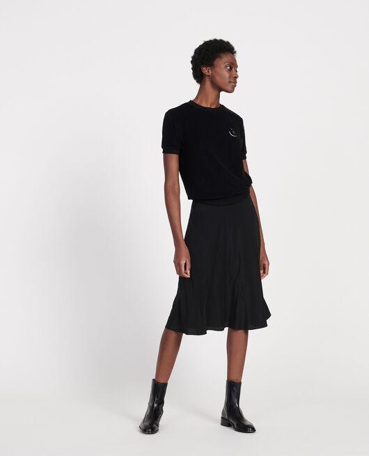 Silk A-line skirt BLACK BEAUTY