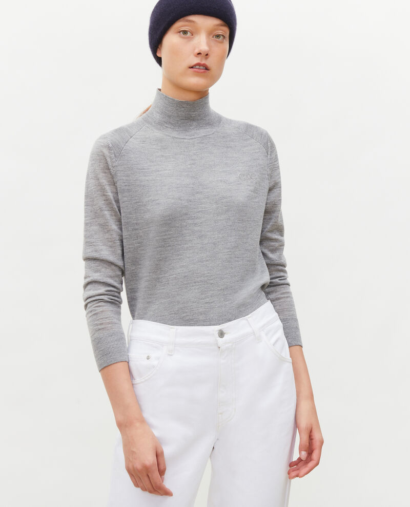 Turtleneck merino wool jumper Light grey melange Malleville