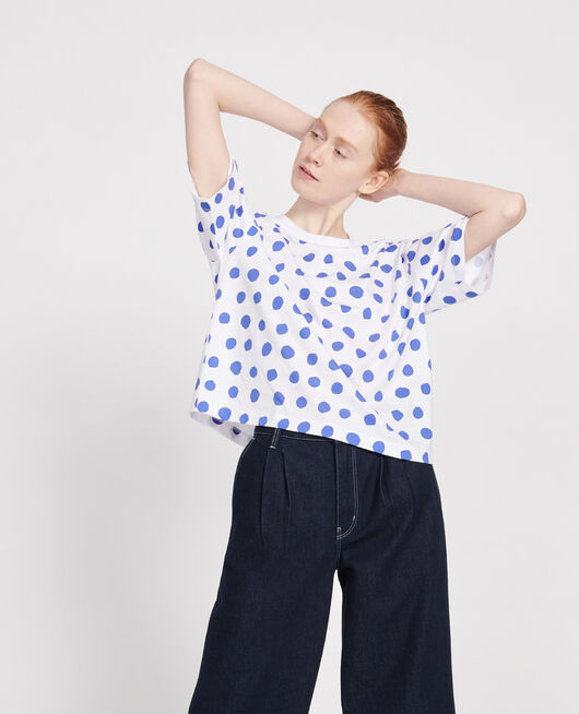 Boxy cotton t-shirt DOTS AMPARO BLUE