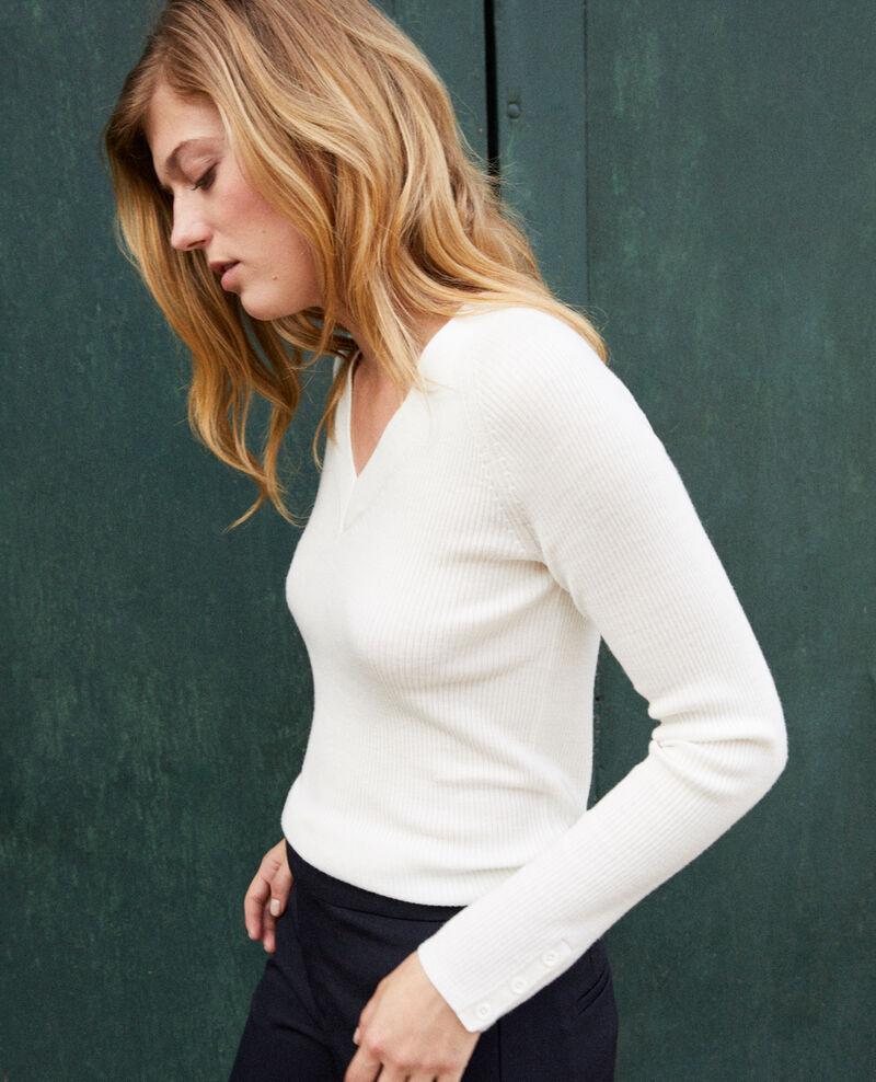 V-neck jumper 100% Merino Wool Off white Jessou