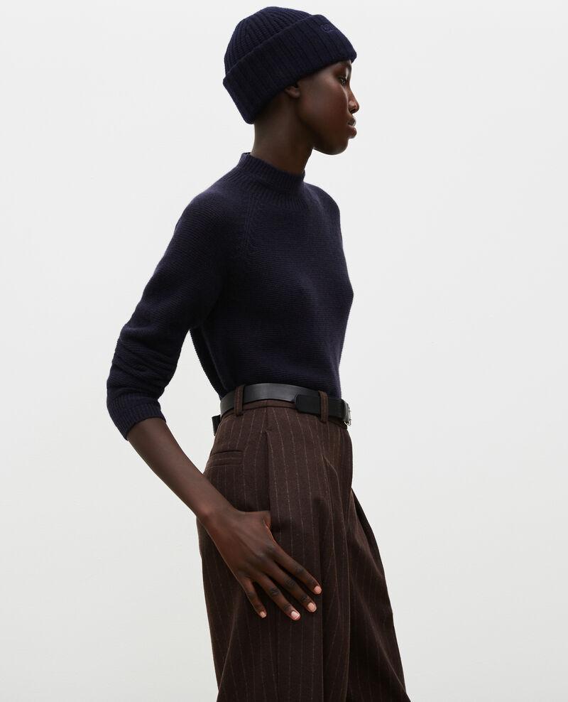 Loose 3D cashmere turtleneck jumper. Night sky Manduel
