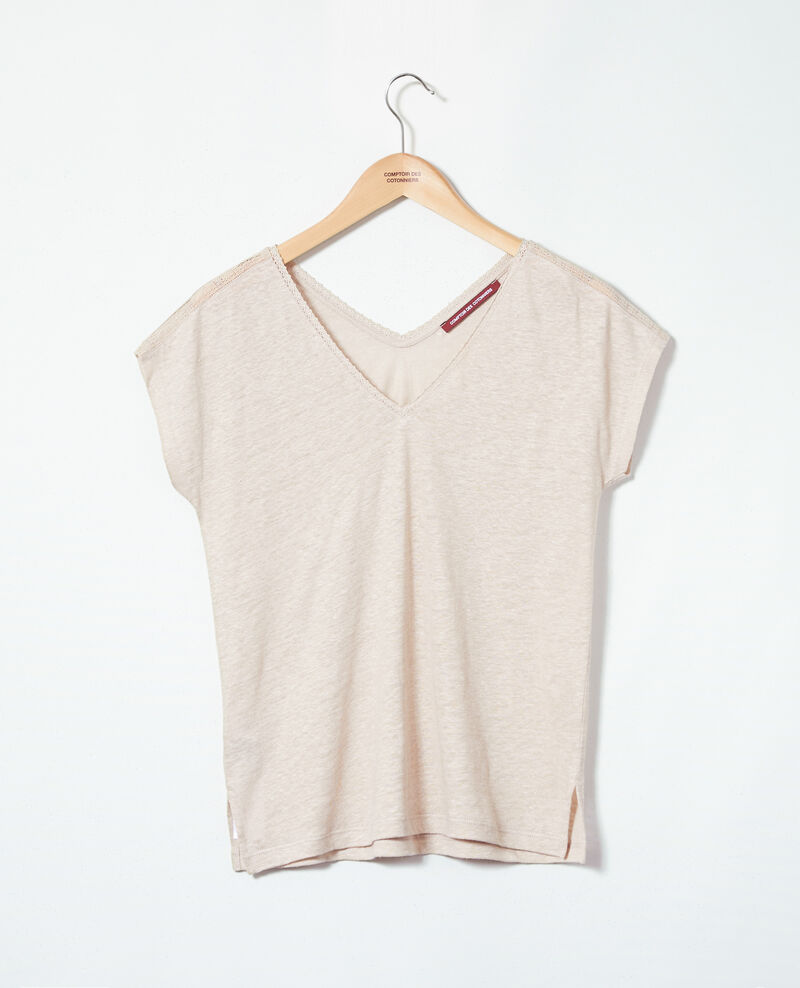 T-shirt with lace Natural linen Itlanta