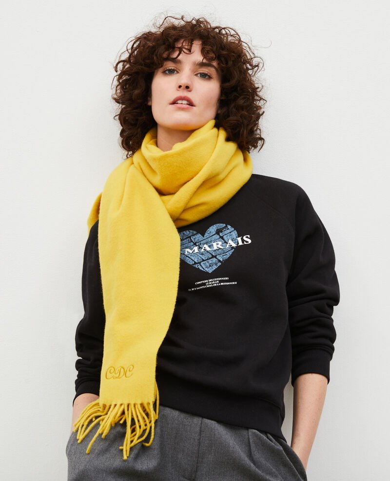 Long wool scarf with fringes Lemon curry Mautes