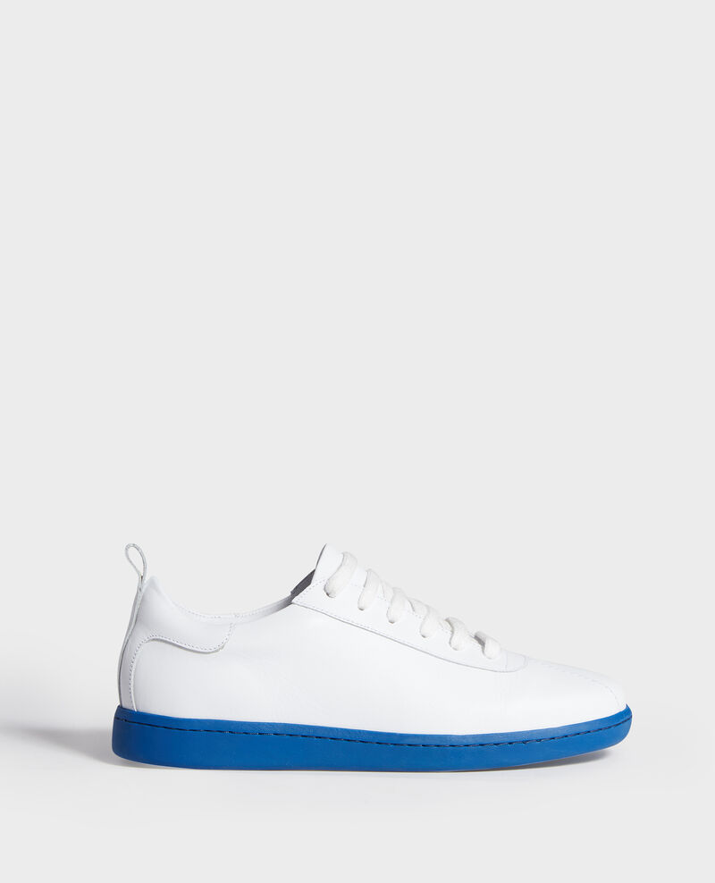 Lace-up leather sneakers White princess blue Lead