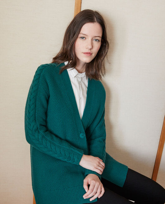 Cardigan with braiding details EVERGREEN