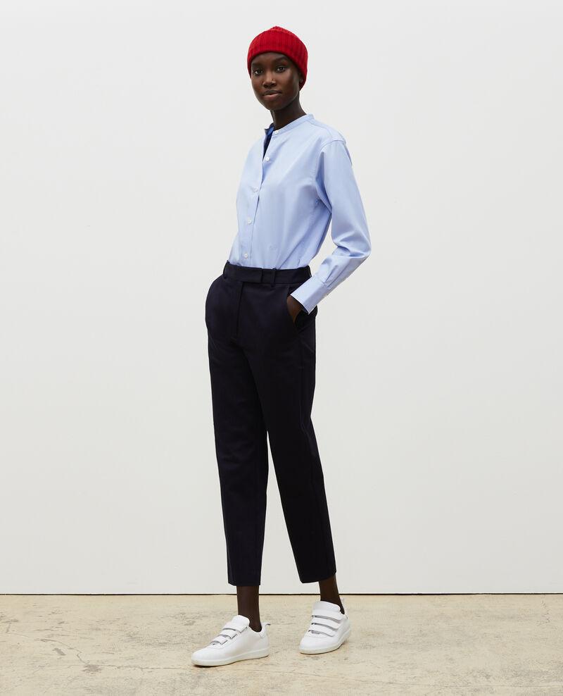 Round neck cotton shirt Classic blue Mannion
