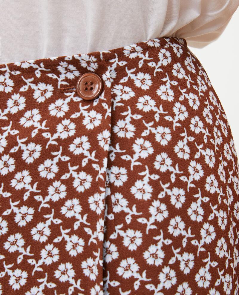 Floral print straight wrap skirt Print fleurettes tortoise shell Matza