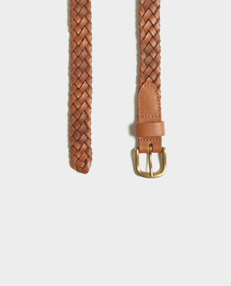 Braided leather belt Camel Luddington