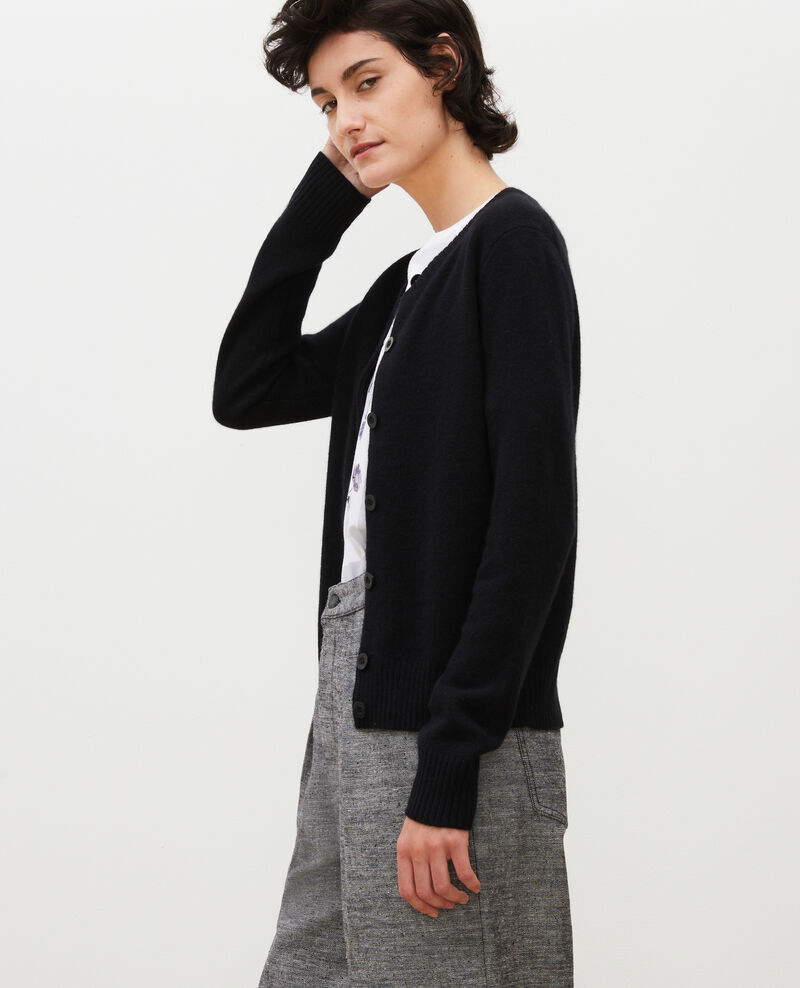 Round neck cashmere cardigan Black beauty Marolle