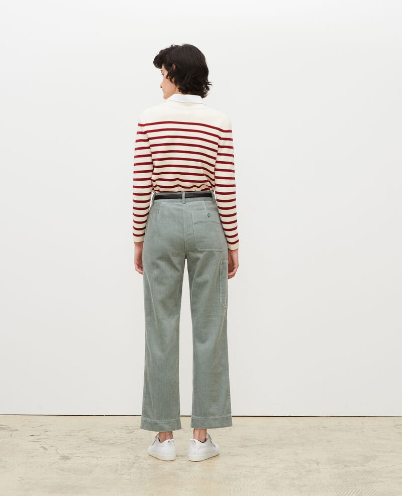Wide corduroy trousers Chinois green Maora
