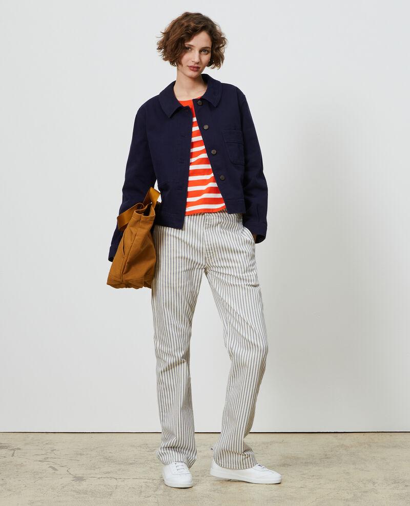 Long-sleeve striped t-shirt Stp spicyorange white Martiel