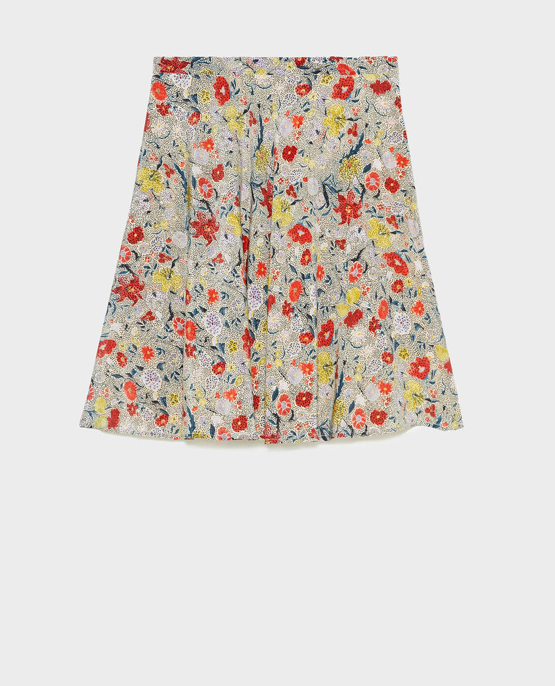 Floral silk flared mini skirt Print eden cream Maurau