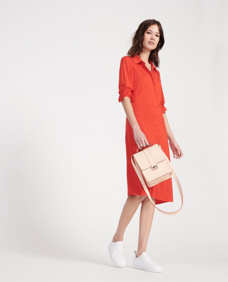 Leather bag Stripes fiery red gardenia Lacolyte