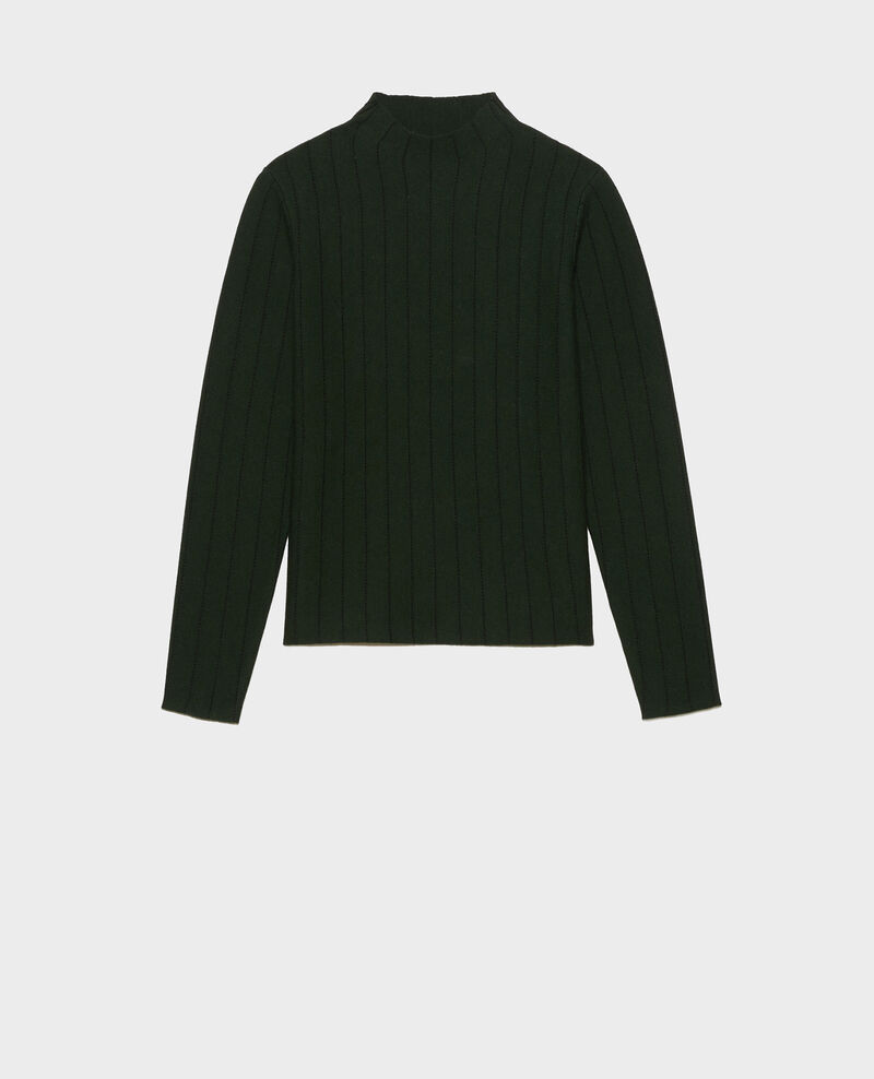 Merino wool funnel neck jumper Military black jacquard Marquisa