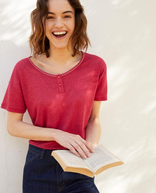 Shiny linen t-shirt FUSHIA