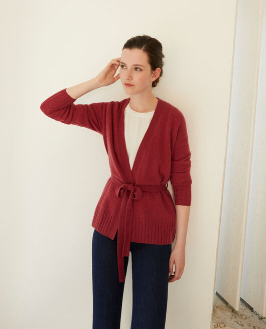 Wrapover cashmere cardigan EARTH RED