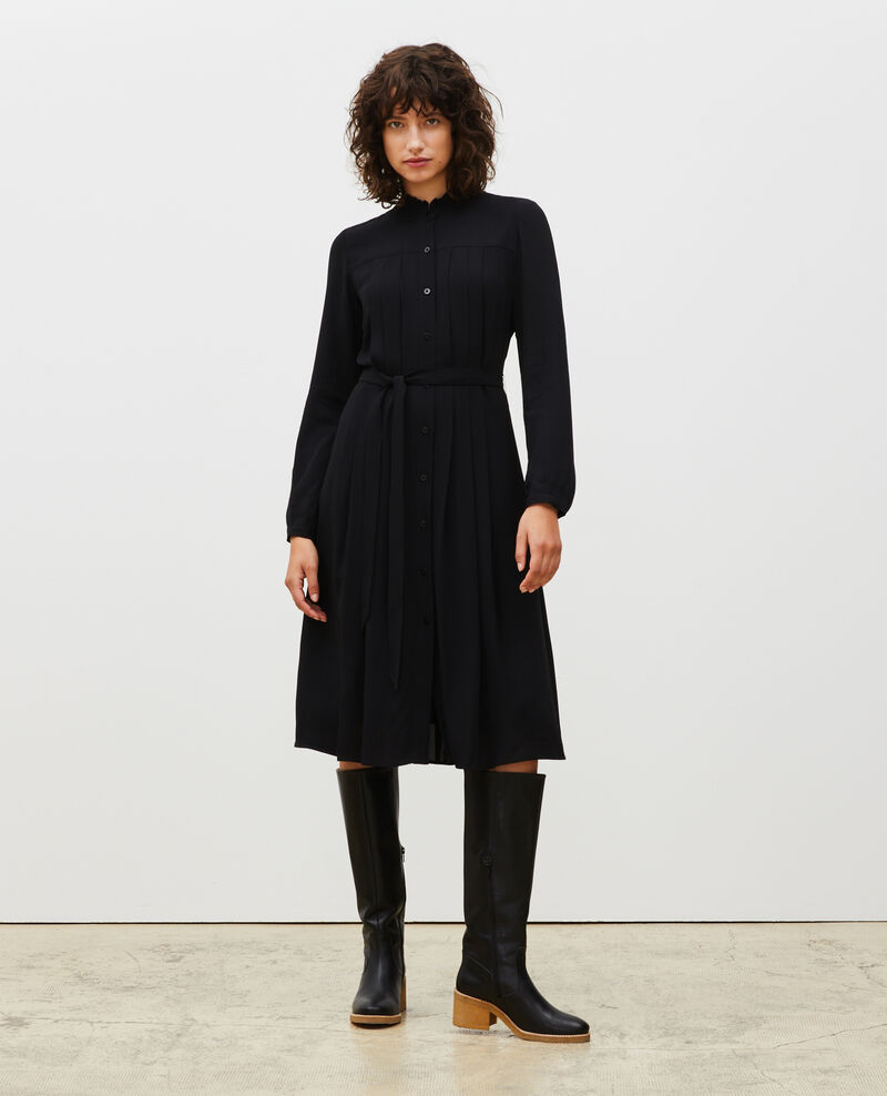 Pleated dress with belt  Black beauty Marcilia