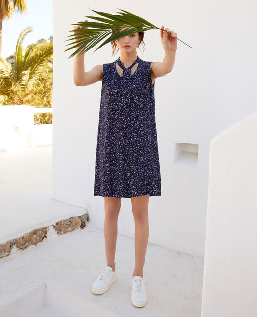 Sleeveless dress CONFETTI INK NAVY