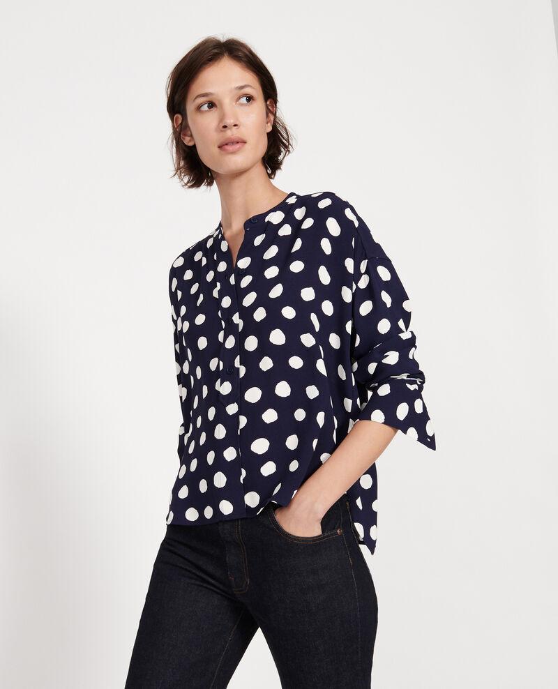 Straight-cut blouse Dots maritime blue Lerheu