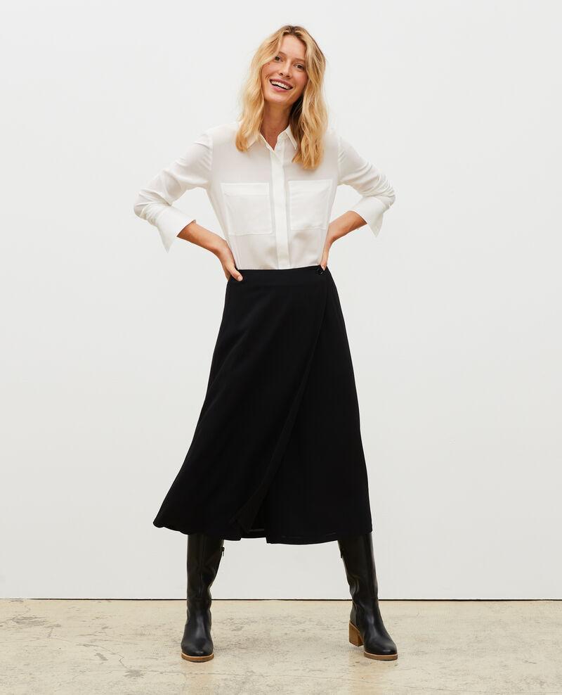 Loose long-sleeve silk shirt Jet stream Misabetha