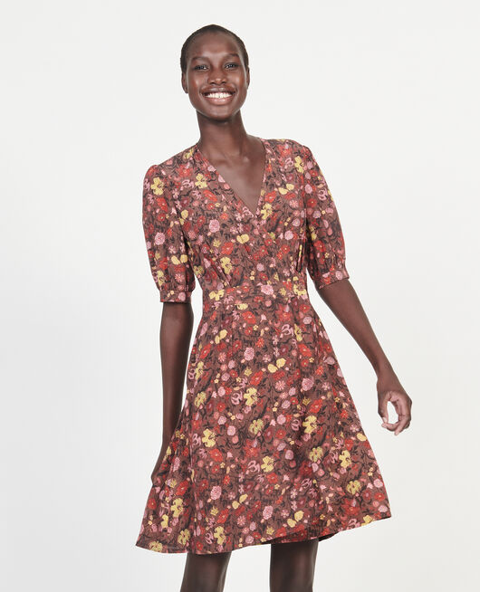 Floral silk wrap mini dress PRINT EDEN TORTOISESHELL